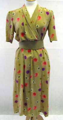 AU757.65 • Buy 1970s Vintage Christian Dior Silk Wrap Dress UK Size 10/12 Vintage Clothing