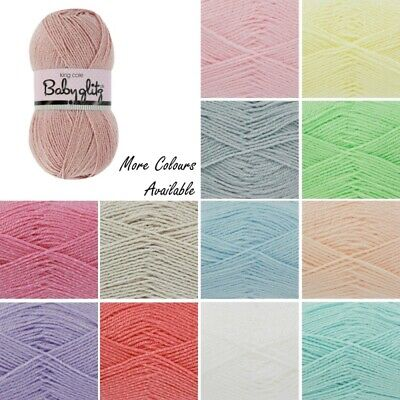 King Cole Baby Glitz DK Double Knit Yarn Pastel Colours 100g Wool • 3.10£