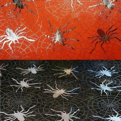£2.40 • Buy Satin Fabric Silver Foil Halloween Spiders Spider Webs Creepy Crawlies