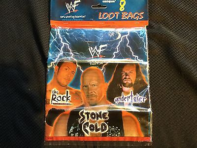WWF WWE The Rock Goody Loot Party Gift Bags Stone Cold Undertaker - 8 Ct WCW TNA • 17.24£