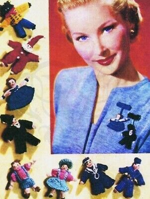 Vintage Knitting Pattern-make Tiny Wee Lapel Doll Brooches-wartime 1940s Pattern • 2.20£