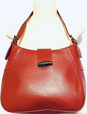 $32 • Buy M LONDON Red Pebbled Genuine Leather  Shoulder Handbag Clasp Buttn Missing AS IS