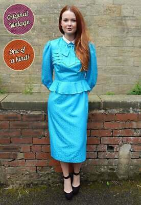AU62.39 • Buy 1970s Vintage Blue Shimmer Secretary Dress UK Size 10 Vintage Clothing