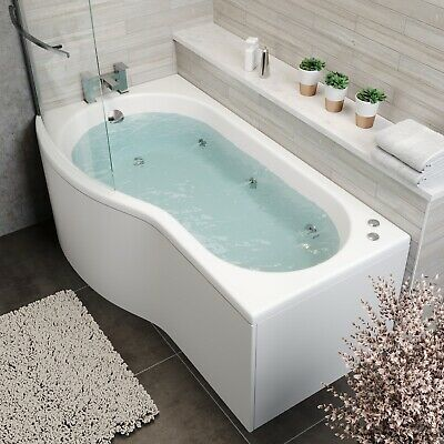 P Shape 1700 X 900mm LH Whirlpool Jacuzzi Bath Vitura 6 Jets Screen Front Panel • 649.99£