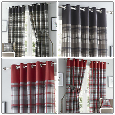 Grey Or Red Eyelet Curtains Tartan Check Plaid Ready Made Lined Ring Top Pairs  • 40.99£