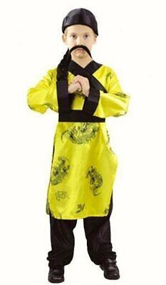 £14.99 • Buy Boys Chinese Fancy Dress Costume Outfit Yellow Shirt Trousers Hat With Braid