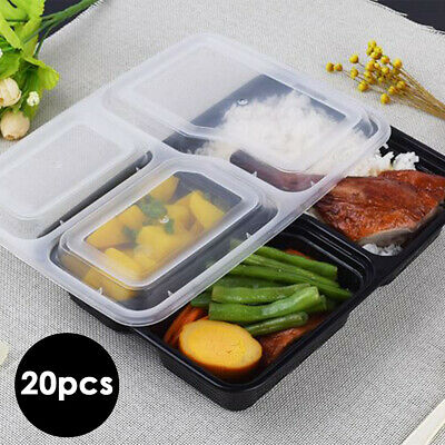 20pcs 3 Compartment Microwavable Food Containers Meal Reusable Lunch Box Lids UK • 13.29£