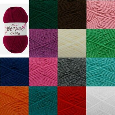 King Cole Big Value DK Knitting Yarn 50g Double Knit Acrylic Wool • 1.10£