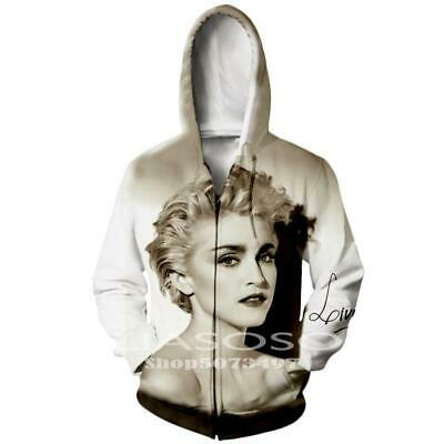 $ CDN22.58 • Buy Sexy Madonna 3D Print Zipper Hoodies Sweatshirt Jacket MensWomen Sports Coat Top