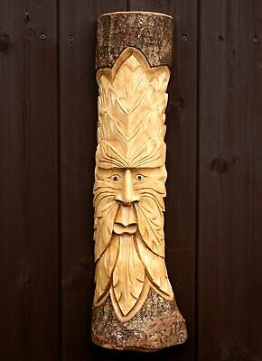 Green Man Wood Log Carving Plaque Wall Hanging Decor Hand Carved 50cm Wizard • 20.95£