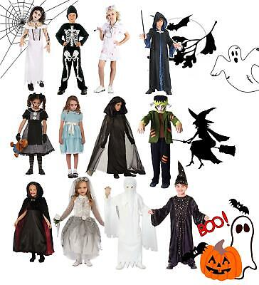 Boys Girls Child Zombie Kids Halloween Horror Fancy Dress Outfit Costumes Scary • 14.99£