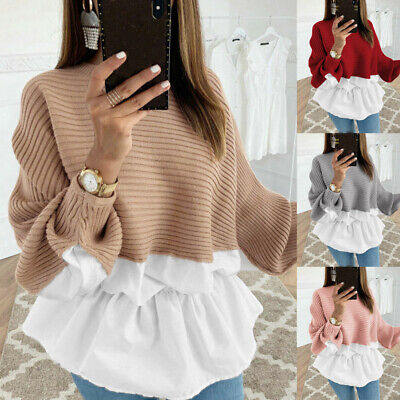 AU22.05 • Buy Womens Long Sleeve Frill Ruffle Tops Ladies Casual Loose Pullover T Shirt Blouse