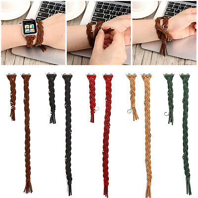 AU15.15 • Buy 40/44mm Woven Leather Double Tour Band Strap For Apple Watch 6 5 4 3 2 IWatch SE
