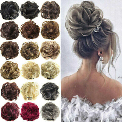 $5.28 • Buy Ponytail Messy Bun Updo Wavy Scrunchie Hair Extensions Hairpiece Party Wedding