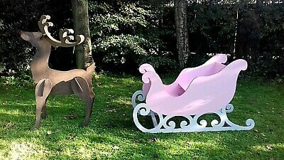 £240 • Buy Large Wooden Santa Sleigh To Sit In & Reindeer Grotto Prop Shop Princess Event