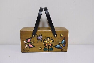 $79 • Buy ENID COLLINS/ Collins Of Texas Wooden Box Bag FLUTTERBYES