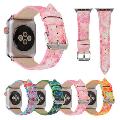 $ CDN12.72 • Buy 40mm/44mm IWatch Leather Band Fish-Scale Pattern Strap For Apple Watch 5 4 3 2 1