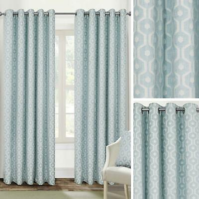 £43.95 • Buy Duck Egg Eyelet Curtains Blue Geometric Jacquard Ready Made Lined Ring Top Pairs