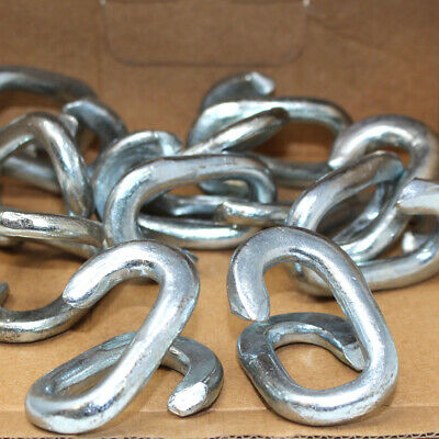 BOX OF 10 X CHAIN MENDING REPAIR LINKS 10mm LINK - BRIGHT ZINC PLATED BZP STEEL • 7.99£