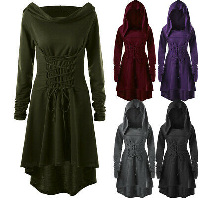 Women's Gothic Lace Up Hooded Vintage Pullover High Low Bandage Cloak Long Dress • 12.42£
