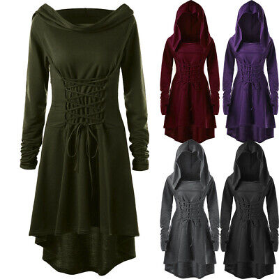 Women's Gothic Lace Up Hooded Vintage Pullover High Low Bandage Cloak Long Dress • 11.82£
