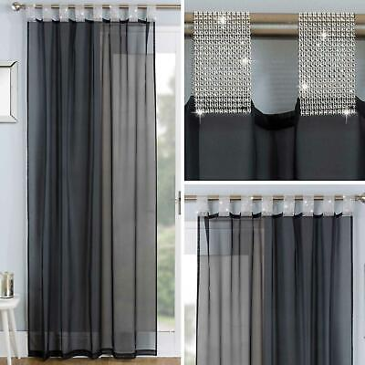 Black Voile Curtain Panels Diamante Sparkle Bling Sheer Tab Top Voiles Curtains • 12.95£