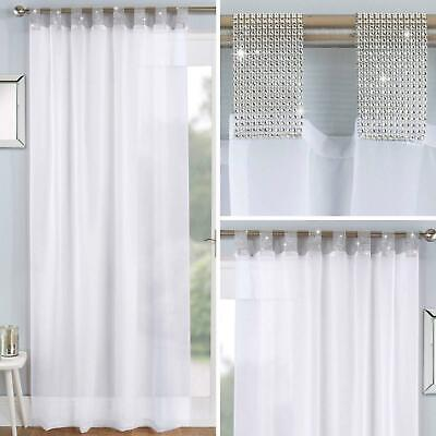 White Voile Curtain Panels Diamante Sparkle Bling Sheer Tab Top Voiles Curtains • 12.95£