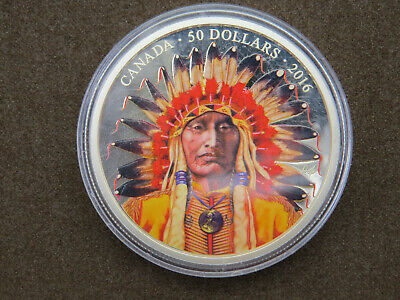 $ CDN399.95 • Buy 2016 $50 5 Troy Oz Silver Coin Wanduta: Portrait Of A Chief Fifty Dollars 9999