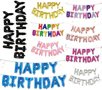 £4.99 • Buy Happy Birthday Self Inflating Banner Balloon Bunting Party Decoration 16 Inch UK