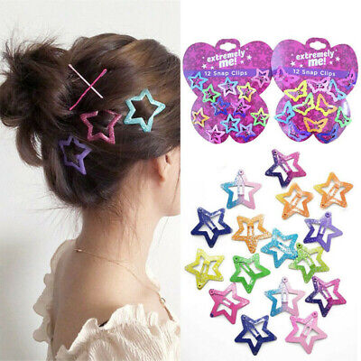 $1.28 • Buy Lots 12PCS/Set Kids Barrettes Girls' BB Clip Candy Color Hair Clips Accessories