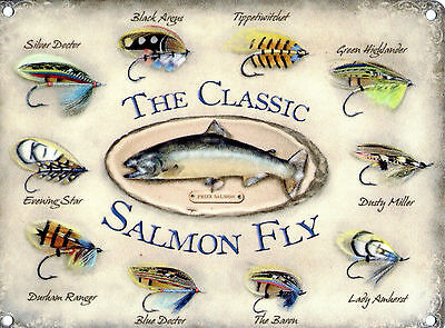 £7.10 • Buy New 15x20cm Classic Salmon Fly Retro Small Metal Advertising Wall Sign
