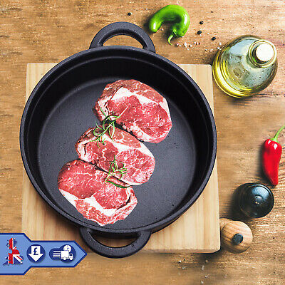 £18.99 • Buy Cast Iron Frying Pan Cookware Backing Pot Skillet Grill Wood Serving Board