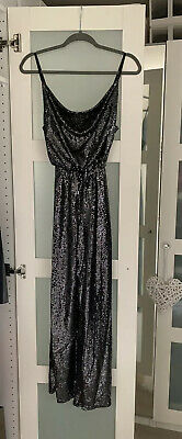 £16 • Buy New Strappy Party Cowl Neck Miss Selfridge Sequin Grey Silver Jumpsuit (Size 10)