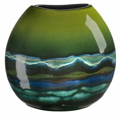 Poole Pottery Maya Purse Vase 20cm Oval Green New Boxed • 100£