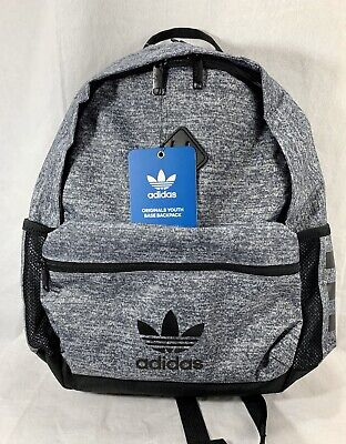 $32 • Buy Adidas TREFOIL Originals Youth Base 18  Backpack GREY ONYX JERSEY Laptop Bag NEW