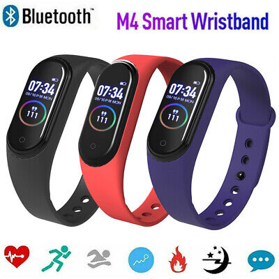 $ CDN7.17 • Buy M4 Smart Waterproof IP67 Bracelet Tracker Blood Pressure Heart Rate BT Wristband