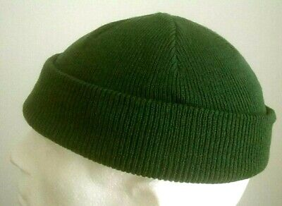 New Mens Army Style Olive COMMANDO Watch Cap Beanie EXTRA SHORT Army Olive GREEN • 9.99£