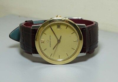 Vintage Eterna Matic DATE AUTO STEEL GOLD MENS Wrist Watch R104 OLD Used Antique • 199£