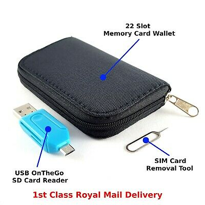Memory Card Carry Case Wallet Pouch 22 Slots Micro USB OTG Card Reader, SIM Tool • 5.59£
