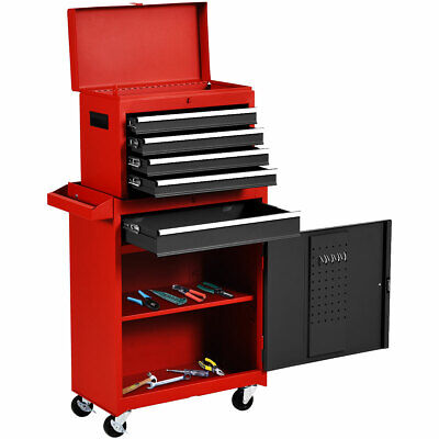 View Details 2 In 1 Rolling Tool Box Organizer Tool Chest W/ 5 Sliding Drawers Durable • 137.59$