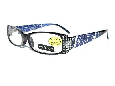 £5 • Buy Pablo Zanetti Reading Glasses With Diamantes PZ01 + Pouch & Cleaning Cloth