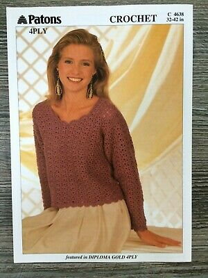 Patons Crochet Pattern: Ladies Sweater, 4ply, 32-42 , 4638 • 3.11£