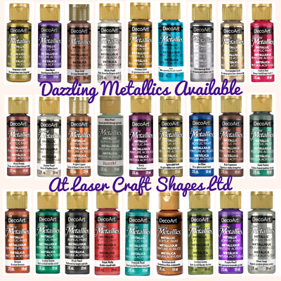 DecoArt Dazzling Metallic Acrylic Craft Paints. 2oz 27 Colours Same Day Dispatch • 5.99£