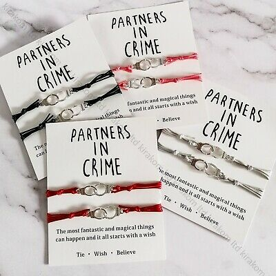 2pcs Partners In Crime Bracelet With Card Friendship Best Friends Christmas Gift • 5.99£