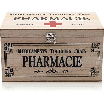 £14.99 • Buy Vintage Wooden Pharmacy Medicine French Style First Aid Box