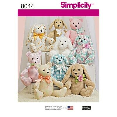 Simplicity Sewing Patterns 8044 Soft Toy Two Pattern Piece Stuffed Animals • 11£
