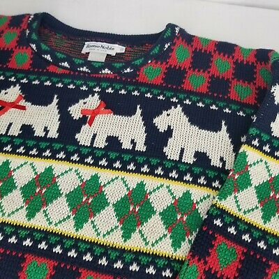 $34.76 • Buy Vintage Scottie Dog Christmas Sweater Argyle Red Green Blue XL Terrier Dogs USA