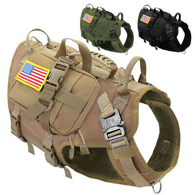 AU79.99 • Buy Pet Dog Hunting Training K9 Molle Vest Harness W/ Detachable 3 Pouches Military