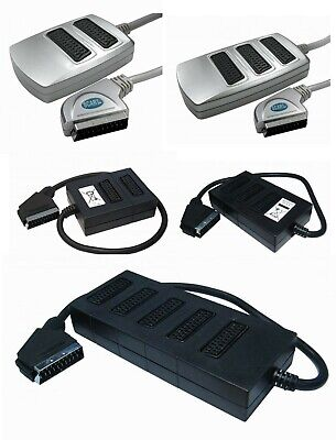 2 Way 3 WAY 5 Way SCART Splitter Box (Switched) With 0.5 Metre Cable • 9.95£