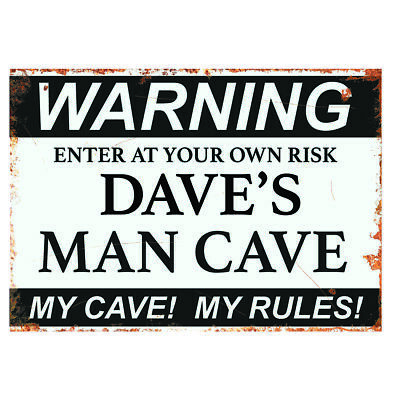 PERSONALISED MAN CAVE VINTAGE GARAGE METAL SIGN RETRO PLAQUE BAR Gift SHED  BBQ • 4.99£